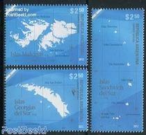 Argentina 2012 Malvinas (Falkland) Islands 3v, (Mint NH), Various - Maps - Unused Stamps