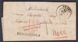 1854 VEVEY NACH NICE / VIA DI DOMODOSSOLA - TORINO - Poststempel