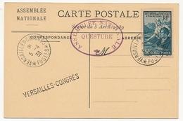 FRANCE - 1 Carte Affr. 65c + 60c Oeuvres Sociales - Assemblée Nationale - Cachet Versailles Congrès Postes 5/4/1939 - Francia