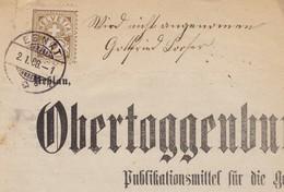 1888  ZIFFER MARKE ALS FRANKATUR AUF OBER - TOGGENBURGER WOCHENBLATT / EBNAT / SEHR SELTEN !!! - 1882-1906 Wappen, Stehende Helvetia & UPU