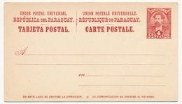 PARAGUAY - Entier Postal - Carte Postale 4 Centavos Rouge - Paraguay
