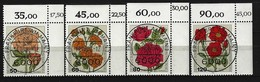 BUND Mi-Nr. 1150 - 1153 Eckrandsatz Rechts Oben Gartenrosen Gestempelt - [7] République Fédérale