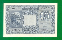Italy 10 Lire 1944 P32 UNC - [ 1] …-1946 : Royaume