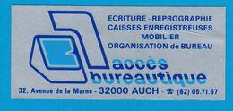 AUTOCOLLANT ACCES BUREAUTIQUE 32 AVENUE DE LA MARNE 32000 AUCH ECRITURE REPROGRAPHIE CAISSES ENREGISTREUSES MOBILIER - Aufkleber
