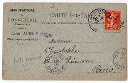 CACHET INVERSE 1980 AU LIEU DE 1908  SUR CARTE POSTALE CHALONS SUR SAONE  MANUFACTURE DE BONNETERIE LEON AUBE - Variétés Et Curiosités