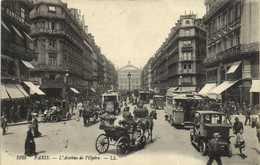 PARIS  L'Avenue  De L'Opera Autobus 's Voiture Fiacres Commerces  RV T + Timbre Taxe 10C Chiffre - Arrondissement: 01