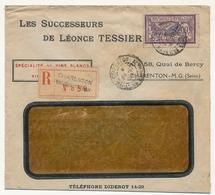 """FRANCE - Env. Fenêtre Affr 60c Merson - Cachet Et étiquette R """"Charenton Magasins Généraux"""" 1922 - 1900-27 Merson"""