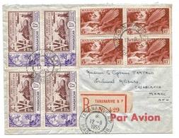 Madagascar Maroc Lettre Avion Recommandée Tananarive 12 8 55 Registered Airmail Cover Liberation Bloc De 4 - Madagaskar (1889-1960)