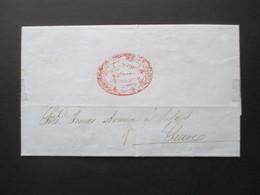 Bolivien / Bolivia 1853 Beleg Mit Inhalt Roter Stempel Cochabamba Franca Briefpapier Mit Geprägtem Wappen! RR - Bolivia