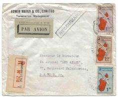 Madagascar Lettre Avion Recommandée Tananarive 1936 Registered Airmail Cover - Madagaskar (1889-1960)