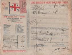 L F T C  BORDEAUX   LIGNES REGULIERES DE VAPEURS FRANCAIS POUR L'ALGERIE   FRET PAYE    1907 - Frankreich