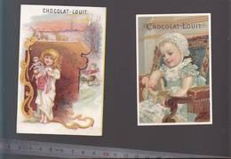 Chromo Fin XIXè / Lot De 2 / Chocolat Louit / Bébé, Jouet, Poupe, - Old Paper