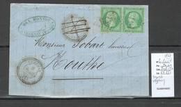 France - Lettre - Yvert 20 Paire - GC1575 - Doubs - VEZENAY - Type 22 -1867 - Marcophilie (Lettres)