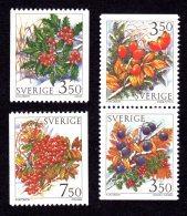 SUEDE 1996 - YT 1910/1913 - Facit 1945/1948 - NEUFS ** LUXE/ MNH - Série Complète 4 Valeurs - Flore, Baies D'hiver - Neufs