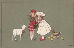 Pauli EBNER - Deux Enfants Avec Un Mouton, Poule Et Poussins (Fond Vert) - Ebner, Pauli