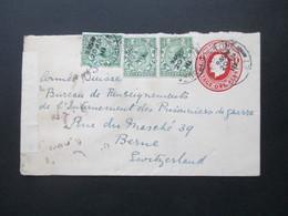 GB 1918 GA Umschlag Mit 3 Zusatzfrankaturen An Das POW Bureau In Bern Zensurbeleg Opened By Censor P.W. 814 - 1902-1951 (Könige)