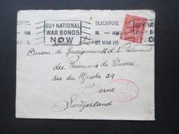 GB 1918 Beleg An Das POW Bureau In Bern Zensurbeleg Roter Ovaler Stempel War Office Postal Censor Und Schweiz Feldpost - 1902-1951 (Könige)