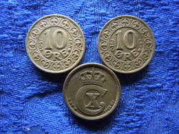 DENMARK 10 ORE 1907, 1910 KM807, 1915 KM818.1 - Denemarken