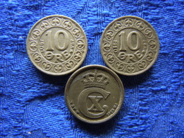 DENMARK 10 ORE 1907, 1910 KM807, 1915 KM818.1 - Danemark