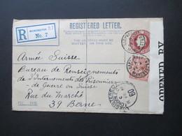 GB 1918 Registered Mit ZuF An Das POW Bureau In Bern Zensurbeleg Opened By Censor P.W. 90 Und Schweiz Feldpost - 1902-1951 (Könige)
