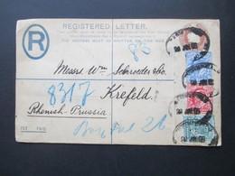 GB 1902 Registered Letter / GA Umschlag  Mit 3 Zusatzfrankaturen / Vierfarben Frankatur! London- Crefeld - 1902-1951 (Könige)