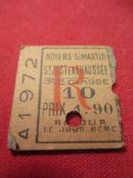 Ticket Ancien Usagé/Noyers St Martin-St Just En Chaussée/3éme Classe/Retour/Le Jour Même/Prix 1,90/Vers 1900-1930  TCK59 - Chemins De Fer