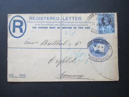 GB 1894 Registered Letter / GA Umschlag Zusatzfrankatur Nr. 93! London- Crefeld Inland Registration Ins Ausland Gelaufen - Briefe U. Dokumente
