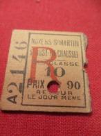 Ticket Ancien Usagé/Noyers St Martin-St Just En Chaussée/3éme Classe/Retour/Le Jour Même/Prix 1,90/Vers 1900-1930  TCK60 - Europa