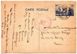 EP De France De Sarlat Vers Centre De Renseignement Pour Les Réfugiés Belges à Paris - Cachet Croix-Rouge De Belgique - Briefe U. Dokumente