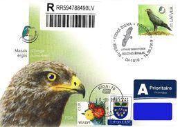 Latvia Lettland Lettonie 2019 (13) Latvian Fund For Nature - Bird - Lesser Spotted Eagle (addressed FDC) - Latvia