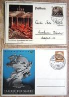 2 Ganzsachen Hindenburg Tag Der Briefmarke, Hitler/Hindenburg 1933 Gelaufen - Deutschland