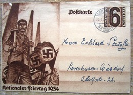 Ganzsache Nationaler Feiertag 1934 Stempel Leverkusen - Interi Postali
