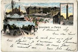 75 Paris 1897 Précurseur Souvenir De ... Litho Champs Eysées Louvre Colonne Vendome - Otros