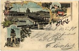 75 Paris 1897 Précurseur Souvenir De ... Litho Pont Des Arts - Otros