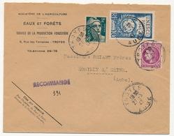FRANCE - Env. Affr Composé - En-Tête Eaux Et Forêts - Recommandé Provisoire De Troyes 1947 - France