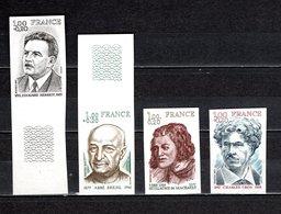 FRANCE  N° 1953 à 1956   NON DENTELES  NEUFS SANS CHARNIERE  COTE 60.00€   PERSONNAGES CELEBRES - No Dentado