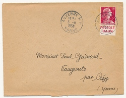 FRANCE - Env. Affr 15f Muller Avec Bandelette PETROLE HAHN - Auxerre R.P. Yonne 1956 - Advertising