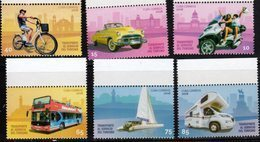 TRANSPORT, 2018, MNH, TRANSPORT AT THE SERVICE OF TOURISM, BICYCLES, BUSES, YACHTS, BOATS, CAMPERS, MOTORBIKES,6v - Busses