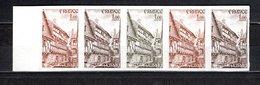 FRANCE  N° 2041  NON DENTELE BANDE DE CINQ ESSAI DE COULEUR   NEUF SANS CHARNIERE  COTE 150.00€ AURAY - Imperforates