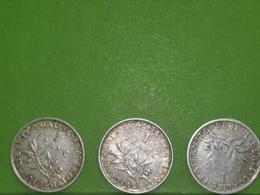 France, 1 Franc *3, 2x1919 Et 1x 1898, Argent, Silver - H. 1 Franco