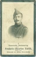 WO1 / WW1 - Doodsprentje Baes Frederic Maurice - Wevelgem / Oostwinkel - Gesneuvelde - Décès