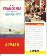 RMS FRANCONIA - FIRST CLASS 1965 - CUNARD Line - Plans - Photos Des Intérieurs Etc ... - Menus