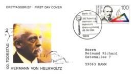 6170  Hermann Von Helmholtz: Env. 1er Jour D'Allemagne 1994 - Thermodynamics Energy, Mathematics, Physiology, Psychology - Fysica