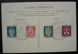 1942 Exposition Philatélique La Poste à Paris Carte Avec Timbres N° 554 à 557 : Le Courrier Français - Marcophilie (Lettres)