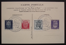 1942 Exposition Philatélique La Poste à Paris Carte Avec Timbres N° 558 à 561 : La Petite Poste - 1921-1960: Période Moderne