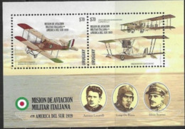 URUGUAY , 2019, MNH, MILITARY AVIATION, PLANES, ITALIAN MILITARY AVAITION MISSION, S/SHEET - Airplanes