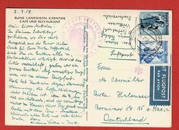 Flugpostkarte  1958 Pörtschach - Berlin  Kontrollstempel Airmail - 1945-.... 2a Repubblica