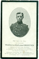 WO1 / WW1 - Doodsprentje Groffen Waltherus Alphonse - Antwerpen / Rotselaar - Gesneuvelde - Décès
