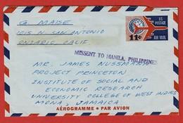 Airmail Cover  1962 Ontario - Jamaica  MISSENT TO MANILA PHILIPPINES - Estados Unidos