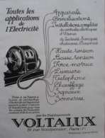 Appareil  Electrique  VOLTALUX    - Page Catalogue Technique De 1925 (Dims Env 22 X 30 Cm) - Autres Composants